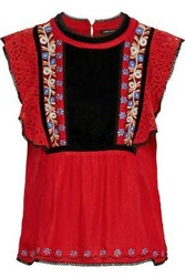 Love Sam Woman Merry Guipure Lace Paneled Embroidered Velvet Blouse Red