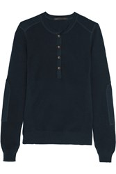Marc By Marc Jacobs Brody Knitted Cotton Blend Top Blue