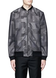 Christopher Kane Geometric Jacquard Bomber Jacket Black