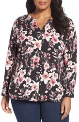 Sejour Plus Size Women's Button Detail Blouse Black Floral