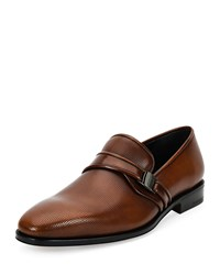 Salvatore Ferragamo Nygel 2 Textured Leather Loafer With Side Vara Light Brown