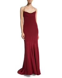 Narciso Rodriguez Sleeveless Silk Chemise Open Back Gown Crimson