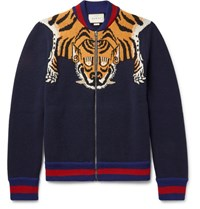 Gucci Tiger Intaria Wool Zip Up Cardigan Navy