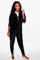 Boohoo Velour Bomber Jacket And Jogger Lounge Set Black