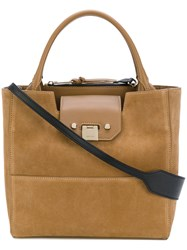 Jimmy Choo Robin Leather Trim Tote Women Leather Suede One Size Brown