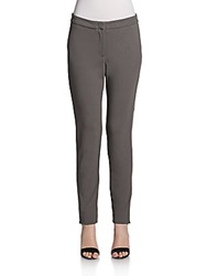 Halston Tuxedo Striped Knit Skinny Pants Dark Flint