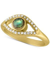 Rachel Roy Gold Tone Abalone Look And Crystal Studded Ring