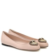Dolce And Gabbana Devotion Leather Ballet Flats Pink