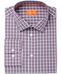 Tallia Men's Fitted Check Printed Ground Dress Shirt Purple