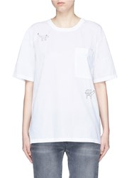 Closed X Jupe By Jackie Animal Embroidered Poplin T Shirt White