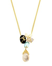 Indulgems Gemstone Cluster Drop Mother Of Pearl Necklace Women's