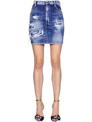 Dsquared Destroyed Cotton Denim Mini Skirt