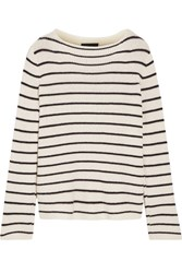 The Row Stretton Striped Cashmere And Silk Blend Sweater Off White