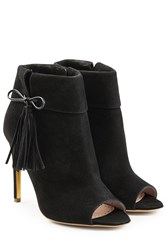 Rupert Sanderson Tinsel Suede Open Toe Ankle Boots Black