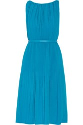 Raoul Picadilly Pleated Stretch Crepe Dress Azure