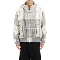 Public School Plaid Hooded Jacket Gray