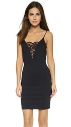 David Lerner Plunging Neckline Dress Classic Black