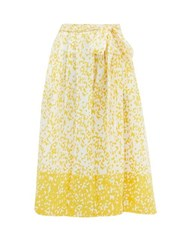 Thierry Colson Java Abstract Print Cotton Wrap Skirt Yellow