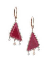 Meira T Ruby And 14K Rose Gold Triangle Dangling Leverback Earrings