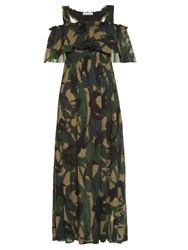 Sonia Rykiel Swallow Camouflage Print Crepe Dress