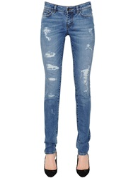 Dolce And Gabbana Skinny Fit Destroyed Cotton Denim Jeans Blue