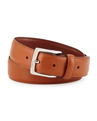 Neiman Marcus Topstitched Leather Belt Tan