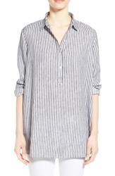 Women's Nordstrom Collection 'Sahara Stripe' Print Long Sleeve Linen Tunic