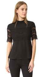 Wayf Pike Lace Inset Top Black
