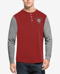 47 Brand '47 Men's Minnesota Twins Downfield Henley Long Sleeve T Shirt Red Gray