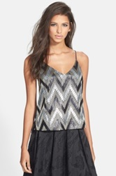 Astr Zigzag Sequin Camisole Juniors Black
