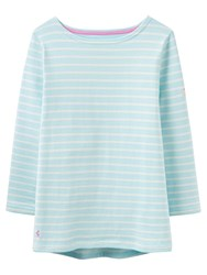 Joules Harbour Stripe 3 4 Sleeve Jersey Top Cool Blue White