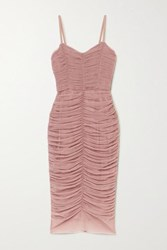 Dolce And Gabbana Ruched Tulle Midi Dress Pink