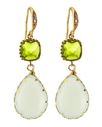 Indulgems Crystal And Chalcedony Drop Earrings