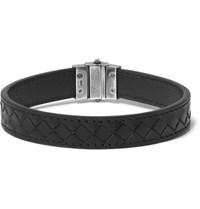 Bottega Veneta Intrecciato Leather Silver Bracelet Black