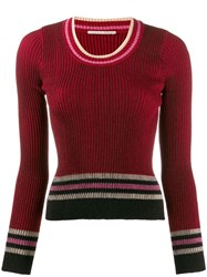 Marco De Vincenzo Stripe Fitted Sweater Red