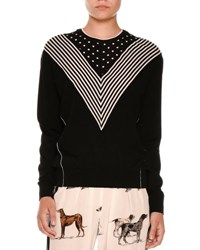 Stella Mccartney Long Sleeve Chevron Striped Sweater Black Black Patterned