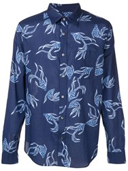Closed Fish Print Shirt Blue