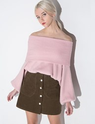 Pixie Market Dusty Pale Pink Off The Shoulder Sweater