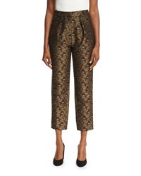 Co Brocade Pleat Front Ankle Pants Gold