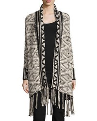 Willow And Clay Fringe Trimmed Aztec Cardigan Ivory