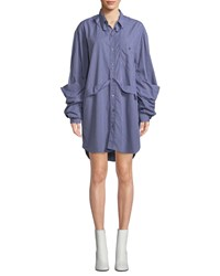 Vetements Checkered Button Front Deconstructed Blouse Navy