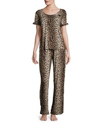 Betsey Johnson Tiger Printed Top And Pajama Pants Set Animal