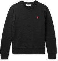 Ami Alexandre Mattiussi Embroidered Loopback Cotton Jersey Sweatshirt Black