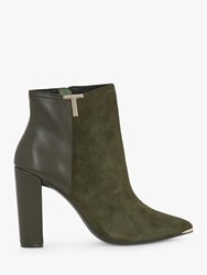 Ted Baker Inala Leather Suede Point Toe Ankle Boots Khaki