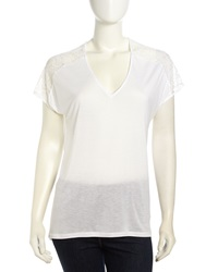 Rebecca Taylor Short Sleeve Lace Inset Jersey Tee White