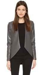 Blaque Label Sculpted Faux Leather Blazer Dark Grey