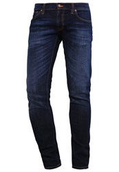 Nudie Jeans Long John Slim Fit Dark Sparkles Dark Blue Denim