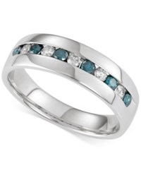 Macy's Men's Blue And White Diamond Band 1 Ct. T.W In 14K White Gold
