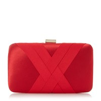Dune Bournie Grosgrain Hard Case Clutch Bag Red