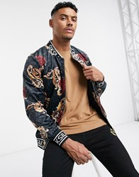 Sik Silk Siksilk X Dani Alves Velour Bomber Jacket Black